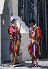 Papal Swiss Guards in their traditional uniform. Photographer: Arnaud Gaillard.